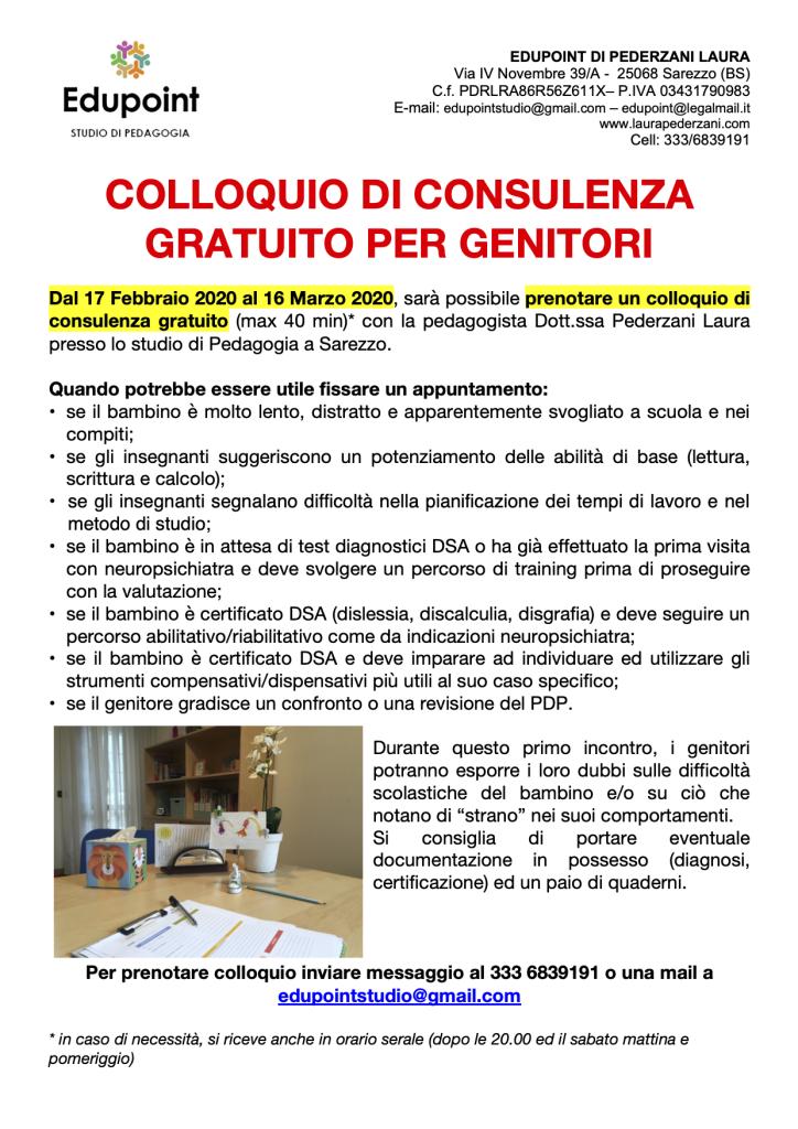 COLLOQUIO DI CONSULENZA GRATUITO PER GENITORI